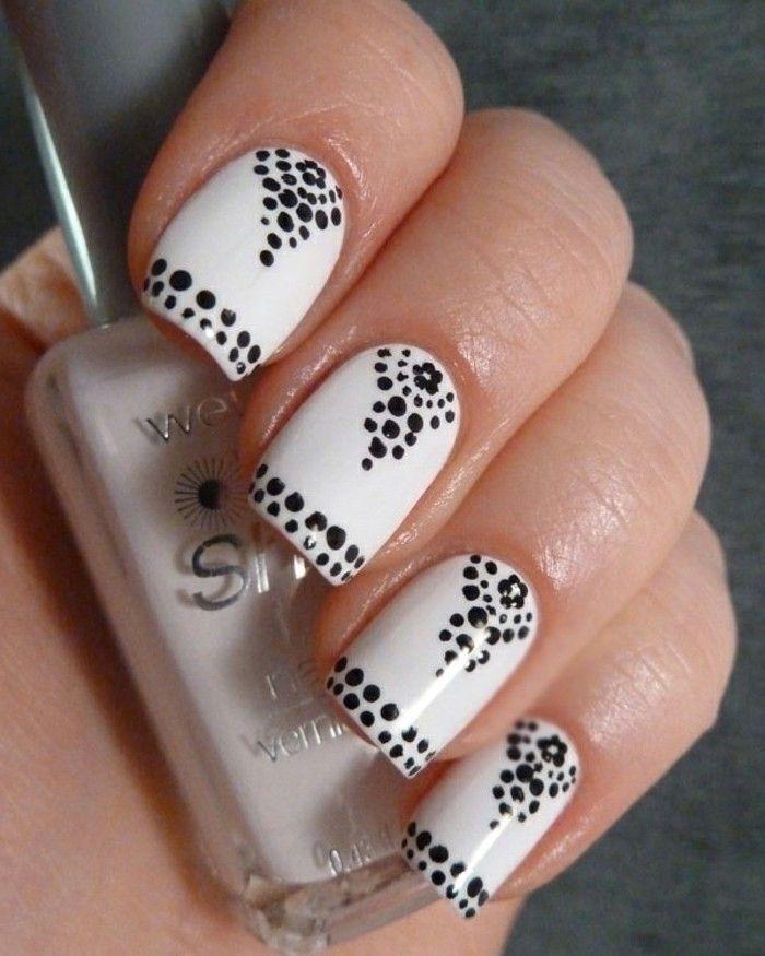 manucure blanche, créer une décoration facile en utilisant un pinceau pour ongles