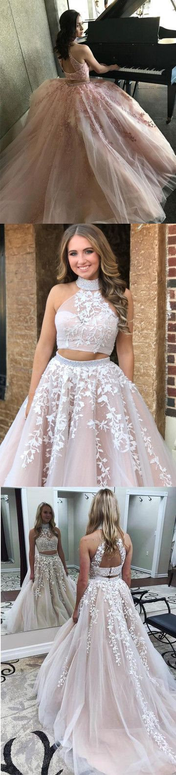 Red Two Piece Prom Dress Vintage Lace Tulle High Neck Prom Dress #ER296