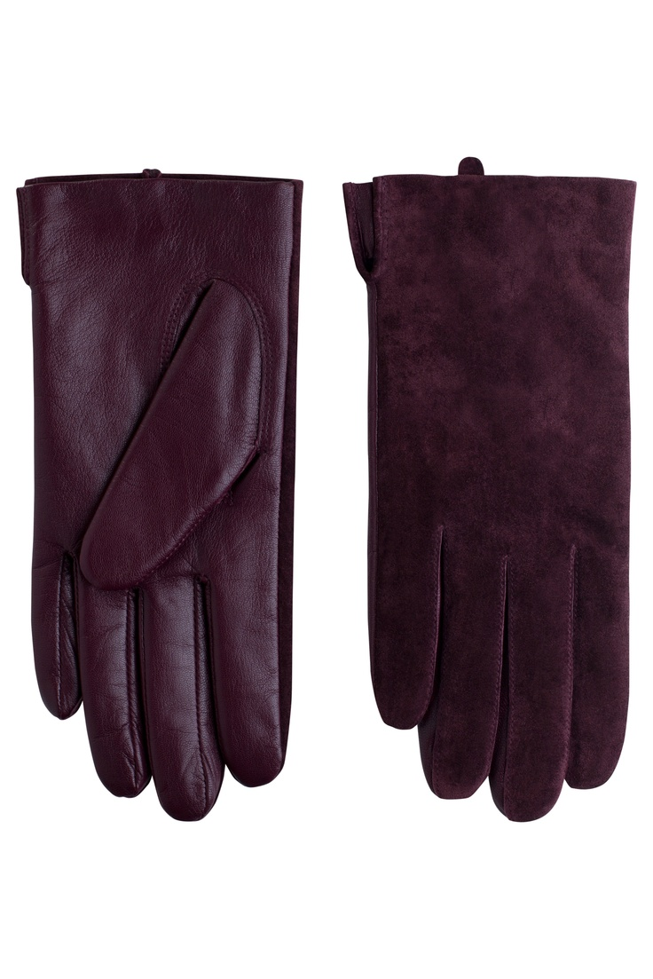 Womens leather gloves burgundy - Burgundy Leather Gloves By Weekday