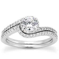 Petite Pave' Curved Wedding Band With Round Diamonds-Style 10540WB