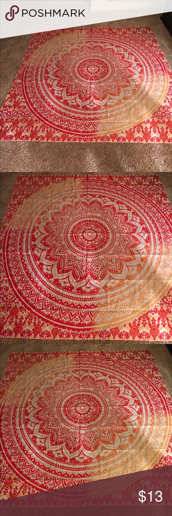 NWT Goldtop Queen Mandela Tapestry, Beach Blanket New brightly colored of pink, yellow and orange Mandela. Has many uses, can be hung as tapestry, beach blanket, yoga mats and any home decor!! Bohemian style, queen size, made by Goldtop. If you have any questions please feel free to contact me and thanks for looking!! Goldtop Other