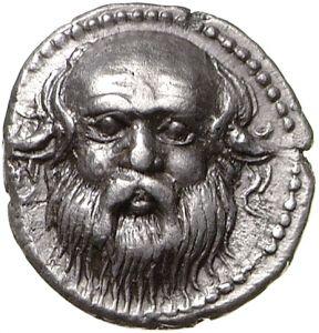 Dracma - argento - Katane (Catania), Sicilia (ca.410 a.C.) - testa di sileno con orecchie ferine - Münzkabinett Berlin