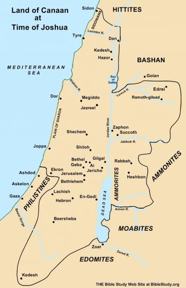 Land of Israel at the time of Joshua; Canaan (/ˈkeɪnən/; Northwest Semitic knaʿn; Phoenician; biblical Hebrew: כנען / knaʿn; Masoretic: כְּנָעַן / Kənáʿan) was, during the late 2nd millennium BC, a region in the Ancient Near East, which as described in the Bible roughly corresponds to the Levant, i.e. modern-day Lebanon, Israel, Palestine, the western part of Jordan and southwestern Syria. Wikipedia