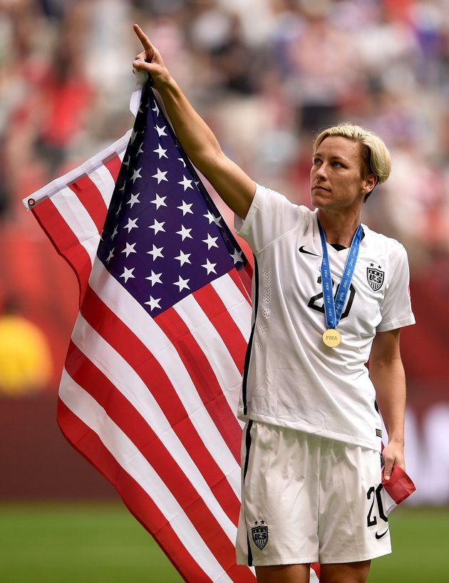 Abby Wambach celebrates the U.S. team's 5-2 victory against Japan in the FIFA Women's World Cup on July 5, 2015, in Vancouver, Canada.