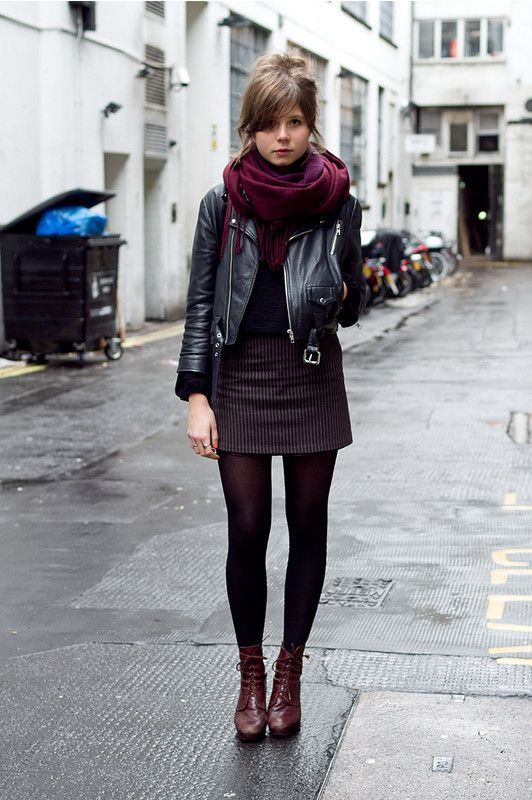 striped mini skirt, leather jacket and scarf