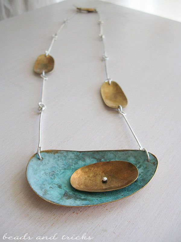 Nu-gold brass, green patina, sterling silver necklace | Handmade by Beads and Tricks