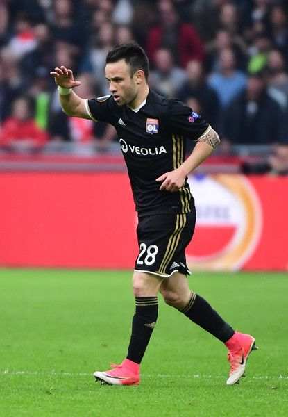 Lyon's French forward Mathieu Valbuena reacts after scoring a goal during UEFA Europa League semi-final, first leg, Ajax Amsterdam v Olympique Lyonnais (OM) on May 3, 2017 in Amsterdam.  / AFP PHOTO / Emmanuel DUNAND