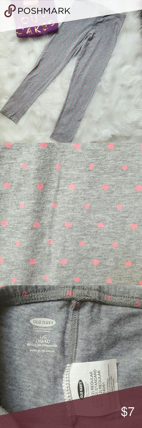 Heart & polka dot leggings EUC girls large Cute gray leggings with tiny bright pink hearts and polka dots. Old Navy Large (10/12) EUC. Worn once at most. Bundle with the top, also in separate listing to save and complete a sweet look! Old Navy Bottoms Leggings