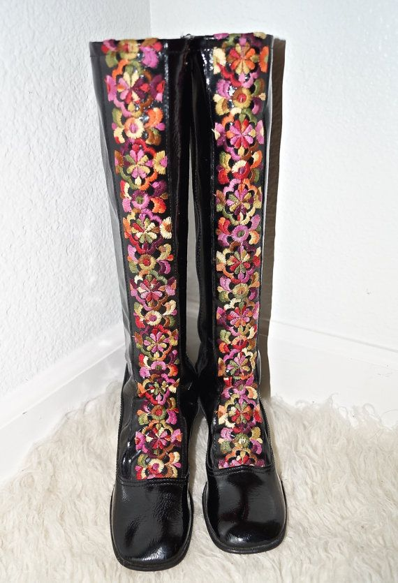 When I was in elementary school my friend Sandy Spaeth had a pair just like these!!!  60s Mod Vinyl Embroidered Go Go Boots / 1960s by ModVibeVintage