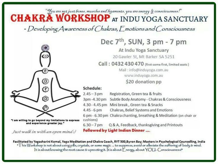 Chakra workshop at Indu Yoga Sanctuary Adelaide by Yogacharini Komal on Dec 7th Sun 3 to 7pm