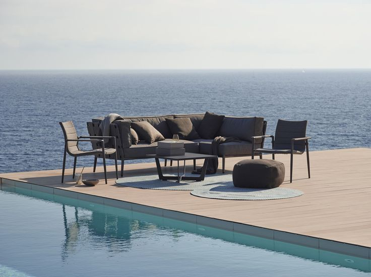 The New Conic modular #lounge #Sofa series is now available in our New #Unique fabric #Caneline SoftTouch®. The Conic lounge group is the latest development of the #Danishdesigners Foresom & Hiort-Lorenzen. #Gardenfurniture #Outdoor #Caneline