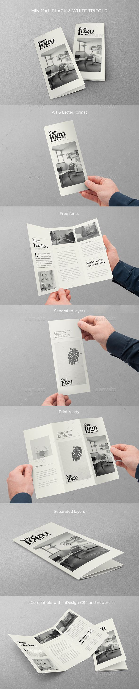 Minimal Black & White Trifold Brochure Template PSD. Download here: https://graphicriver.net/item/minimal-black-white-trifold/17414656?ref=ksioks