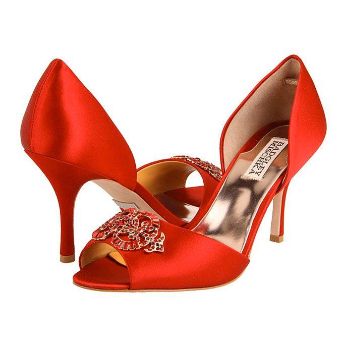 Brides.com: Red Wedding Accessories Salsa pumps, $215, Badgley Mischka, ZapposPhoto: Courtesy of Zappos