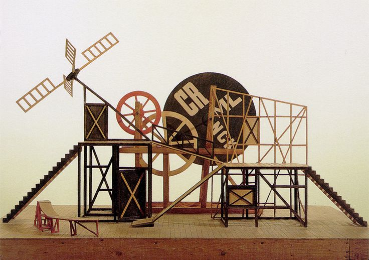 Liubov Popova: Set Model (1967 reconstruction) for The Magnanimous Cuckold produced at the Meierkhold Theatre, Moscow, 1922. Gouache, wood and metal.  Bakhrushin State Central Theatre Museum, Moscow