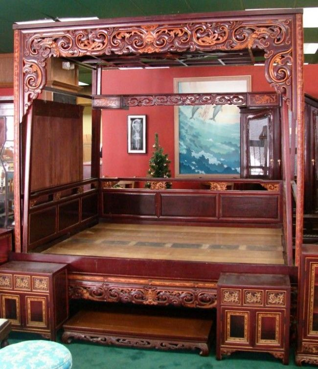 Antique Bed: 150A: Chinese Mahogany Marriage Or