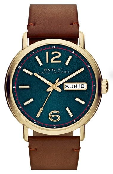 MARC BY MARC JACOBS 'Fergus' Leather Strap Watch, 42mm available at #Nordstrom