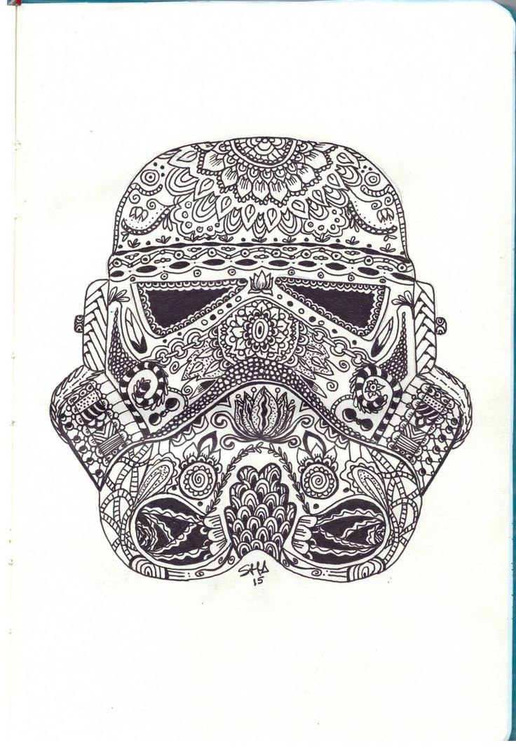 Stormtroopers helmet zentangle by sushann Zentangle