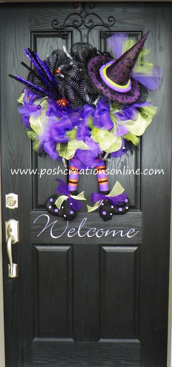 Halloween Spider Witch Wreath Purple Green and by poshcreationsKY, $119.00