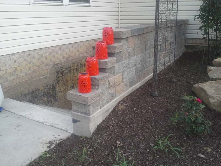 double finish sided retaining wall block used as railing on wall blocks id=75031