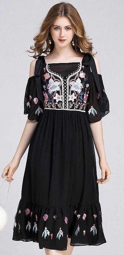 572389e40e Folk Embroidery Off-The-Shoulder Big Hem Skater Dress