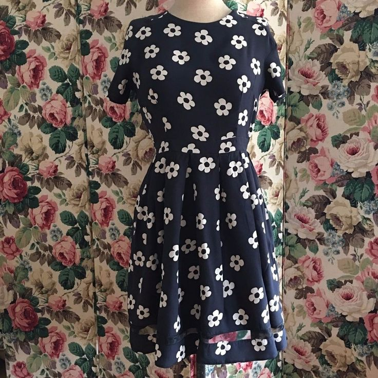 UK SIZE 10 12 WOMENS DOROTHY PERKINS BLACK CREAM TEA DRESS FLOWER PRINT #DorothyPerkins #TeaDress
