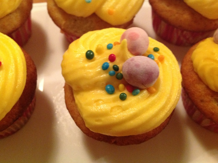 Easter Cupcakes with orange topping and some choc eggs