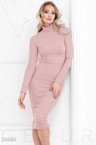 81f6051a55882d6 Трикотажное платье рубчик (пудрово-розовый) в интернет магазине Sosiska  #сукня #платьякиев