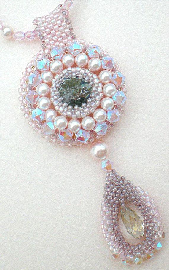 Rivoli Necklace Pink Grey Beadwoven Beaded by SpringColors on Etsy, $50.00