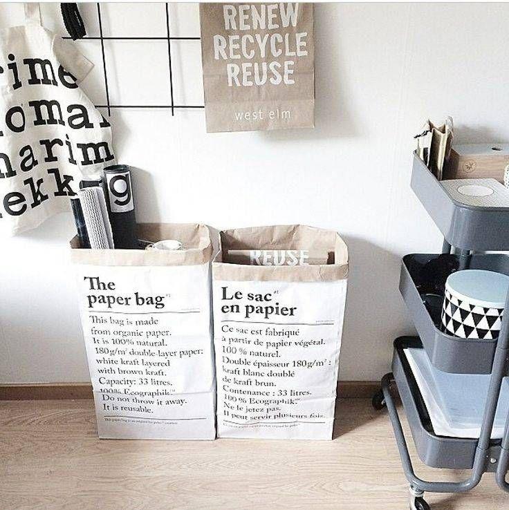 Uniek en bekend uit de diverse woonbladen deze multifunctionele paperbag van dubbel gelaagd papier.