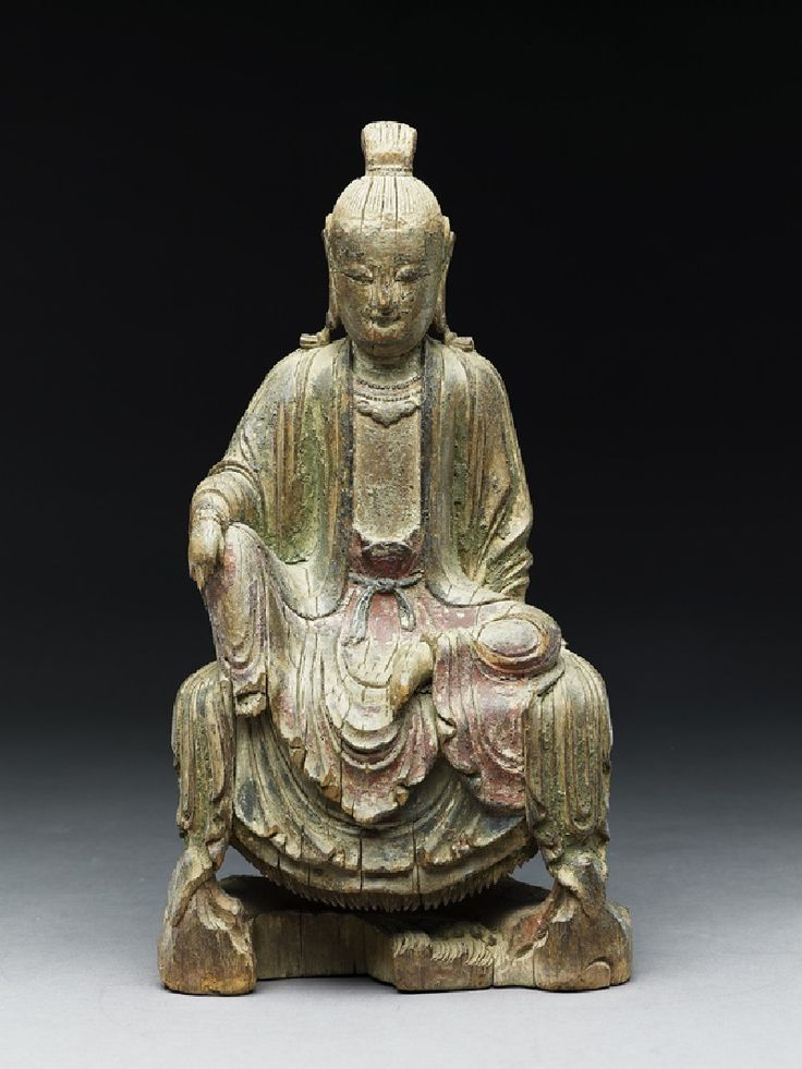 Seated figure of a bodhisattva, Ming Dynasty, 14th - 15th century, wood, with…