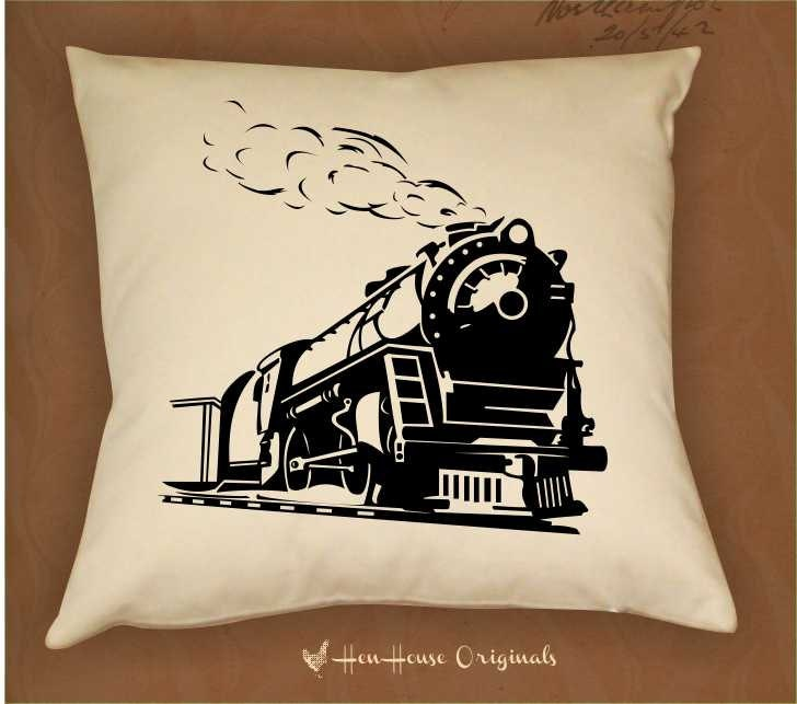 Sheffield Home Decorative Pillows : Train Locomotive Pillow Cover, Train Pillow, Home decor pillow, Personalized Pillow, Zip closure ...
