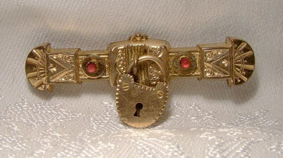 Victorian Heart Padlock Rolled Gold Plate Bar Pin or Brooch 1870s Antique RGP Red Stones Key To My Heart