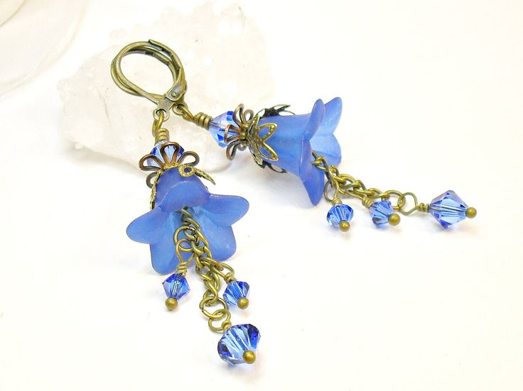 Blue Flower Earrings, Lucite Flower Earrings, Vintage Style Earrings. $23.00, via Etsy.