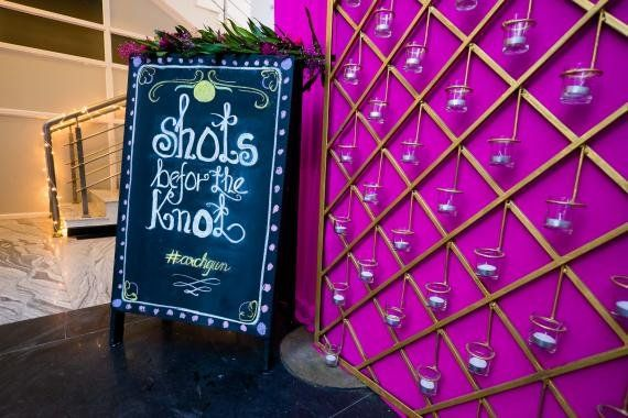 What's a sangeet/ cocktail without a fun bar to crowd around ? We asked our decor experts for some of their most unique bar decor designs and these are what they came up with .  Decor by Even Flow...