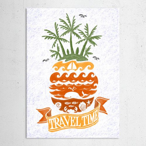 Beach illustration with pineapple theme
