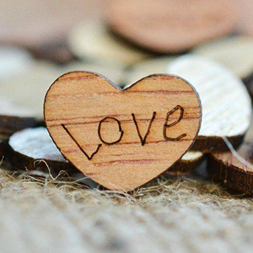 """Love Wood Hearts Confetti 1/2"""" - Rustic Wedding Decor"""