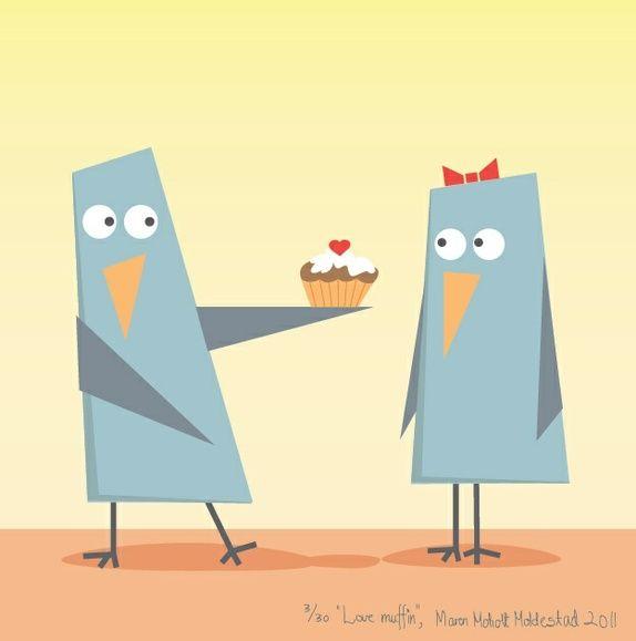 """Signert barneromsbilde / signed poster - """"Love muffin"""""""