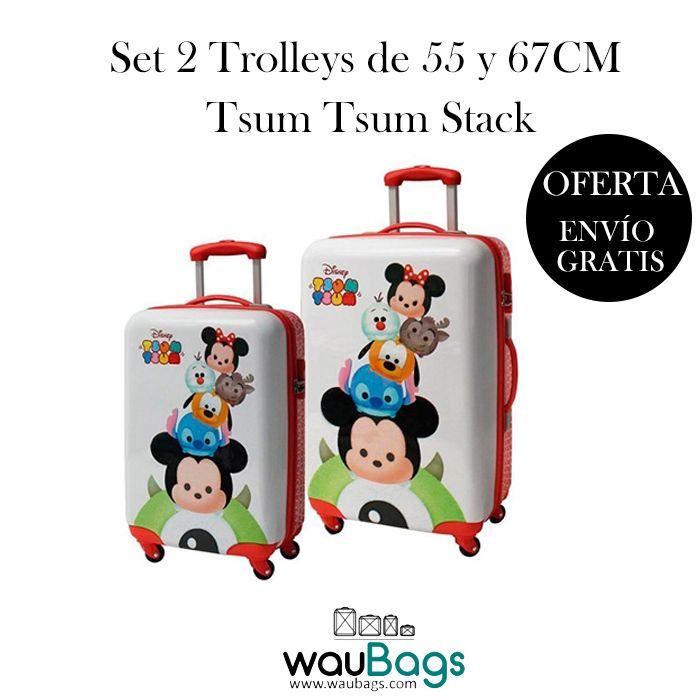 Aprovéchate de nuestras ofertas y consigue el Set de 2 Maletas Trolley Tsum Tsum Stack (una de ellas apta para cabina) por tan solo 137€!! @waubags #disney #tsumtsum #setdeviaje #maletas #trolley #oferta #viaje #descuento #promocion #infantil #waubags