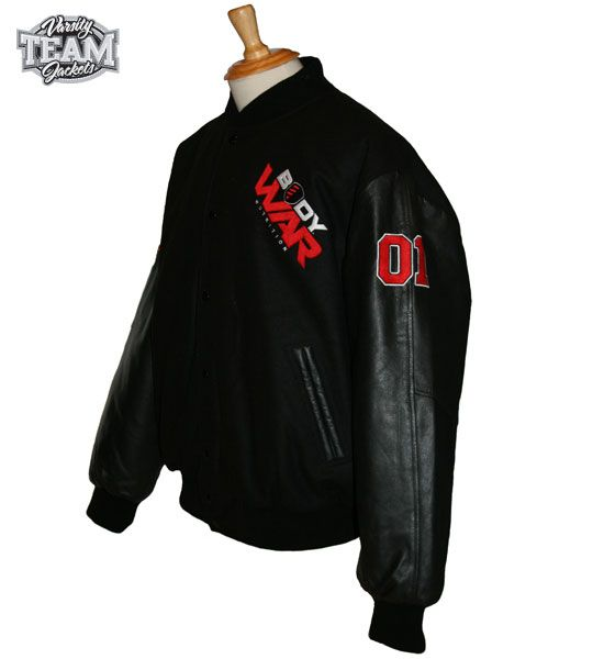 Body War custom wool and leather varsity jacket front with chenille patches and embroidery by Team Varsity Jackets. www.facebook.com/TeamVarsityJackets  www.teamvarsityjackets.com.au