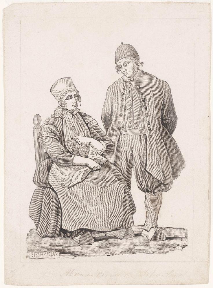 man en vrouw uit Schokland kunstenaar: Arum, Rombertus Julianus, van #Schokland