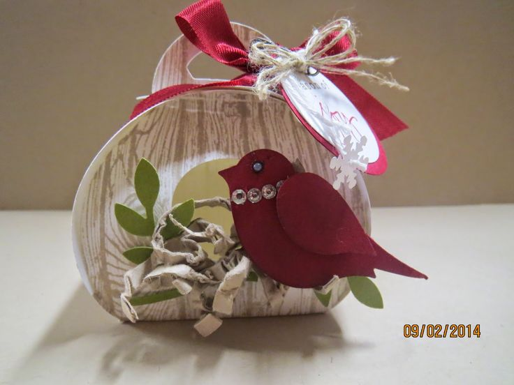 9/3/2014; Darla Watson at 'Scrap Happens Here' blog; Curvy Keepsake Box bird house