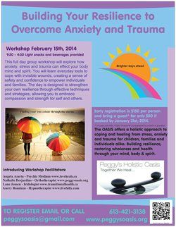 Building your Resilience to Overcome Anxiety and Trauma #Ottawa Feb 15th 2014
