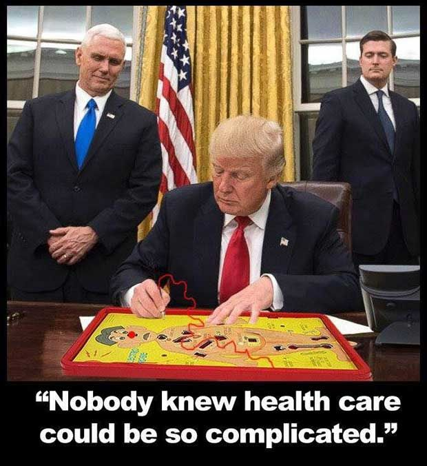 Trump in the oval office working on a new version of how the impending healthcare plan will work...