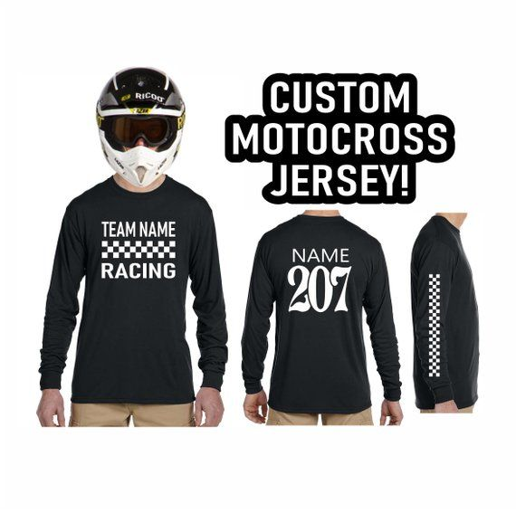 Download Custom Motocross Jersey Vintage Style Checkered Flag Logo Long Etsy Number Shirt Motocross Long Sleeve Shirts