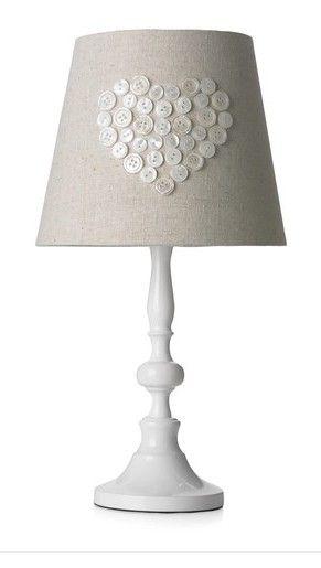 Shabby Chic BNWT Linen Button Heart Lamp