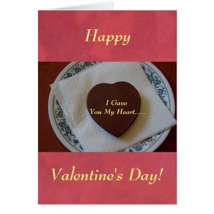 Happy Valentine's Day Chocolate Heart Card - valentines day gifts gift idea diy customize special couple love