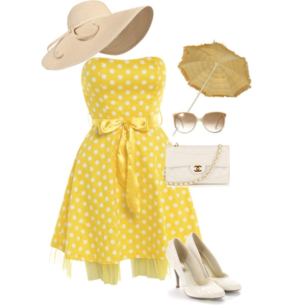 yellow sundress, created by christie-raye-cameron on Polyvore