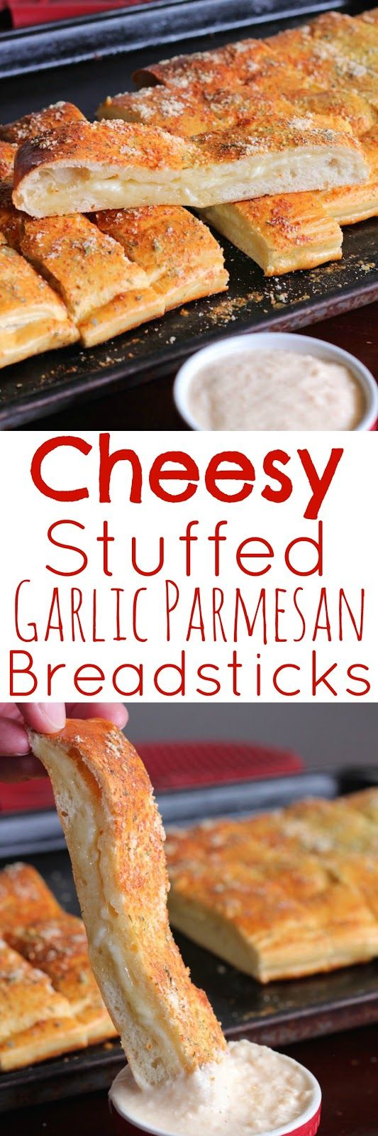 Cheesy Stuffed Garlic Parmesan Breadsticks - These shortcut breadsticks are amazing. Try them dipped in Alfredo sauce. #RhodesBread #FrozenBreadDough