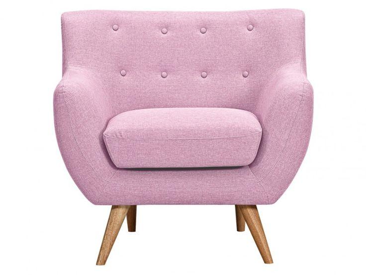 Fauteuil van stof SERTI - snoep roze met bijpassende decoratieve knopen