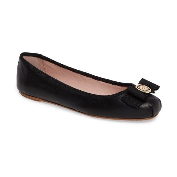 Women's Kate Spade New York Fontana Too Ballet Flat ($178) ❤ liked on Polyvore featuring shoes, flats, black nappa leather, black ballet shoes, bow ballet flats, black ballet pumps, ballerina pumps and black flats